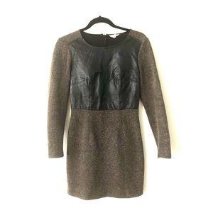 Club Monaco leather and wool herringbone dress
